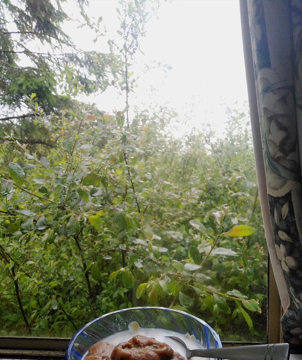rainy day window view caravan paleo porridge