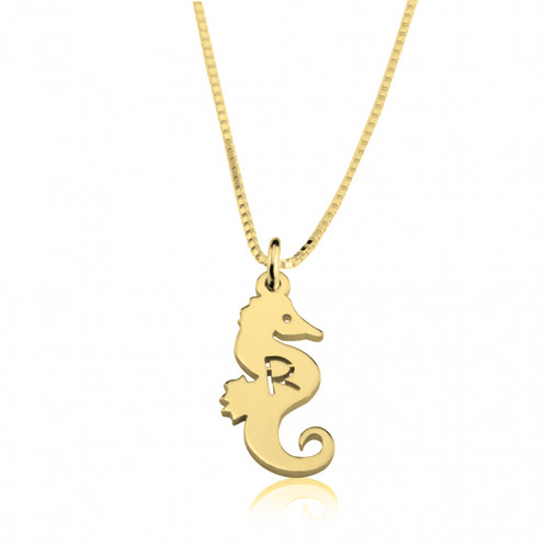 Gold seahorse initial necklace luxe made shop from independent gold seahorse initial necklace aloadofball Gallery