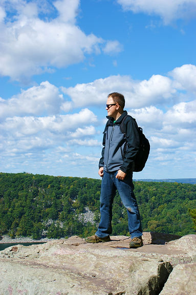 Ryan Matejka hiking at Devil's Lake