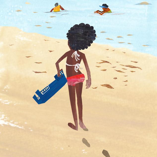 海辺で宝物探し