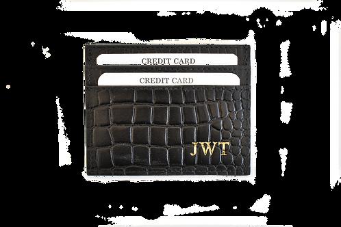Black croc card holder