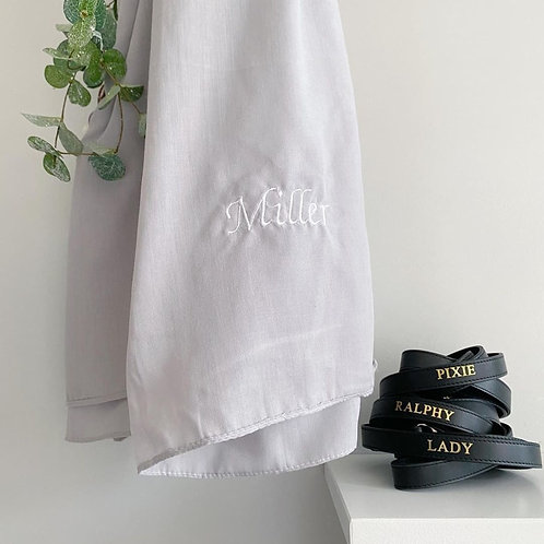 Grey Embroidered Scarf