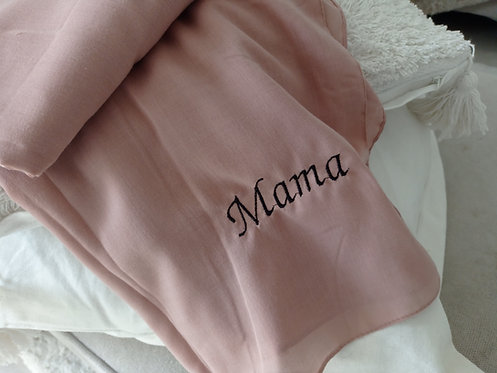 Mama Embroidered Scarf