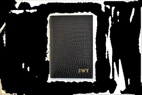Black croc passport holder