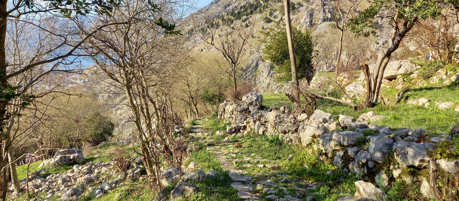 Historical path through the Spiljari village nearby Kotor