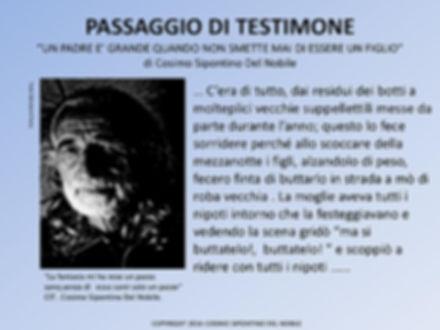 Locandina del libro di Cosimo Del Nobile Passaggio di Testimone dell'associazione culturale di manfredonia Progetti Futuri
