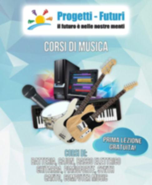 Locandina dei corsi di musica dell'associazione culturale di manfredonia Progetti Futuri