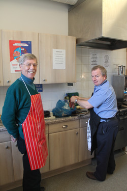 Tom and Ivor on bacon duty