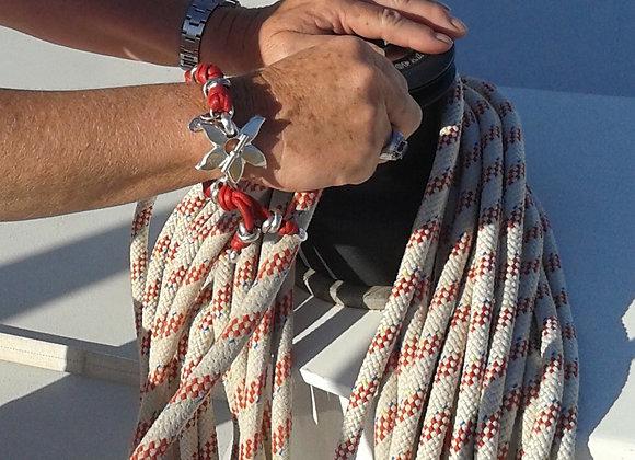 Bracelet corde fermoir orchidée argent