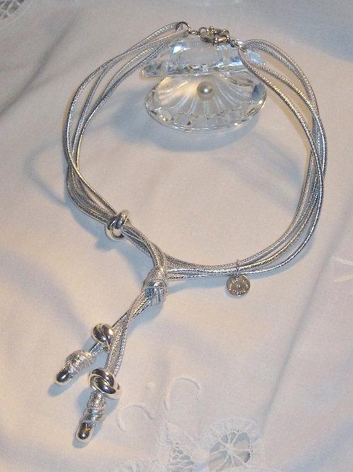 Collier corde cuir Nappa 3 anneaux Jaseron