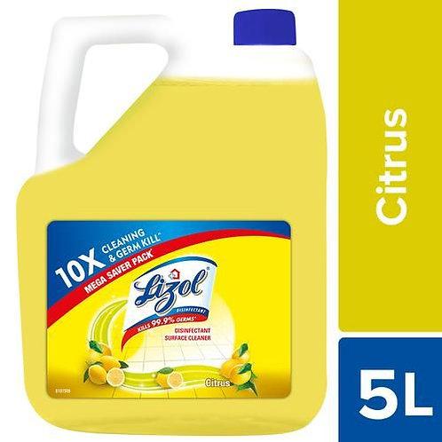Lizol Disinfectant Surface & Floor Cleaner Liquid, Citrus - 5l