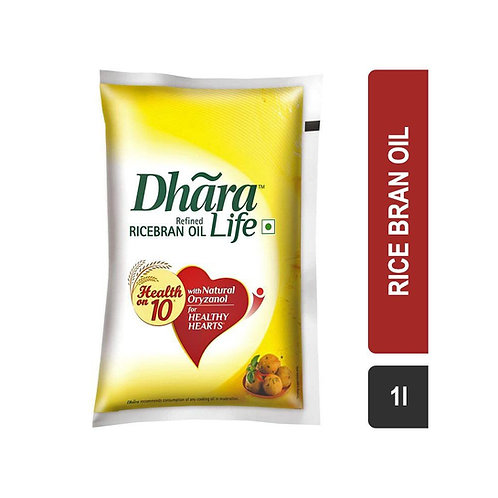 Dhara Life Refined Rice Bran Oil (Pouch) 1 L