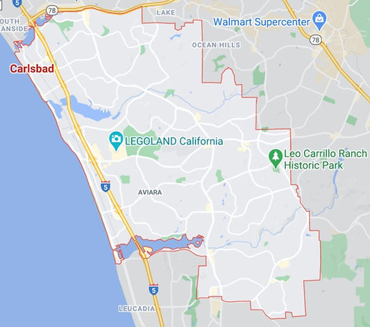 A google map showing the Carlsbad service area of Encinitas Mobile Notary.