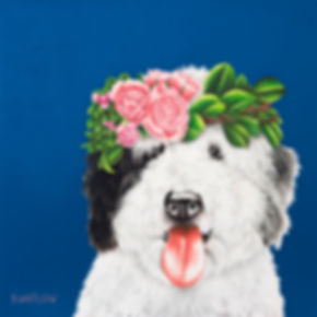 sheepadoodle in a flower crown