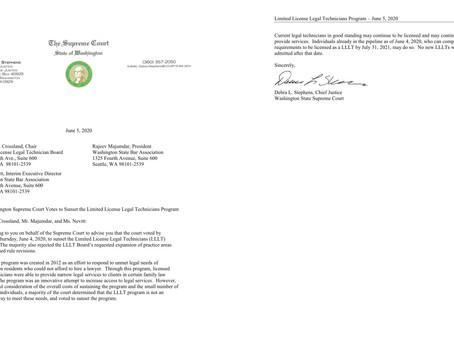 Washington State Supreme Court Ends LLLT Program