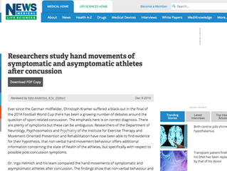 Researchers study hand movements of symptomatic and asymptomatic athletes after concussion