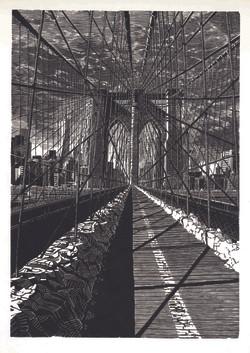 Brooklyn Bridge: New Day   布鲁克林桥:新的一天  246 x 173 mm   £300 Edition size: 1st edition: 30; 2nd edition: 50  One of a series of engravings of Brooklyn Bridge, New York, USA, in different light and weather conditions.   美国纽约布鲁克林桥木口木刻系列作品之一,在不同的光线和天气条件进行创作。