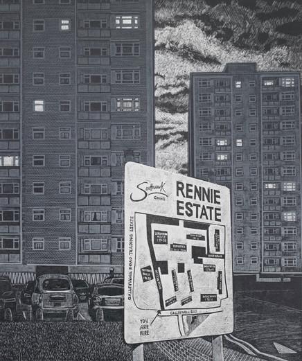 Evening on Galleywall Road  加利墙道的夜晚  210 x 160mm  £160 Edition size: 30  1960s tower blocks in Bermondsey  1960年代在伯蒙德赛区1960年代的高层住宅楼