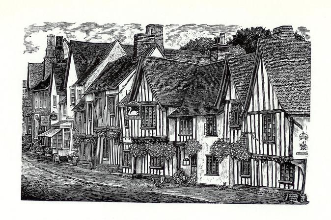 The Swan Inn, Lavenham  天鹅旅馆,拉文纳姆  100 x 165mm   £55 Edition size: 375  A fifteenth century inn in the historic village of Lavenham in Suffolk, full of timber-framed buildings dating back to medieval prosperity in the wool trade.  这是萨福克郡历史悠久的拉文纳姆村的一家15世纪的客栈,到处都是木结构建筑,可以追溯到中世纪羊毛贸易的繁荣时期。