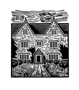 Kelmscott Manor  凯尔姆斯科特庄园  130 x 110mm   £80 Edition size: 75  The country home of the British designer, William Morris  英国设计师威廉-莫里斯的故居。