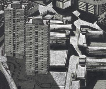 The Kipling Estate  吉卜林住宅区  170 x 200mm  £140 Edition size: 30  1960s housing near to London Bridge Station  伦敦桥车站附近的1960年代的住宅楼
