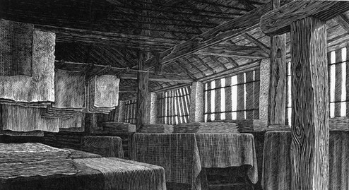 The Drying Room  干燥室  125 x 230mm   £100 Edition size: 100  The 'sechoir' or drying room, in the sixteenth century paper mill Moulin de Verger in Angouleme, south west France  16世纪,位于法国西南部安古莱姆的造纸厂的干燥室