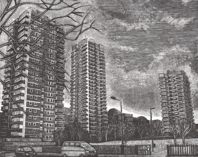 St George's Estate  圣乔治住宅区  175 x 215mm  £140 Edition size: 30  1960s housing in East London  伦敦东部1960年代的建筑