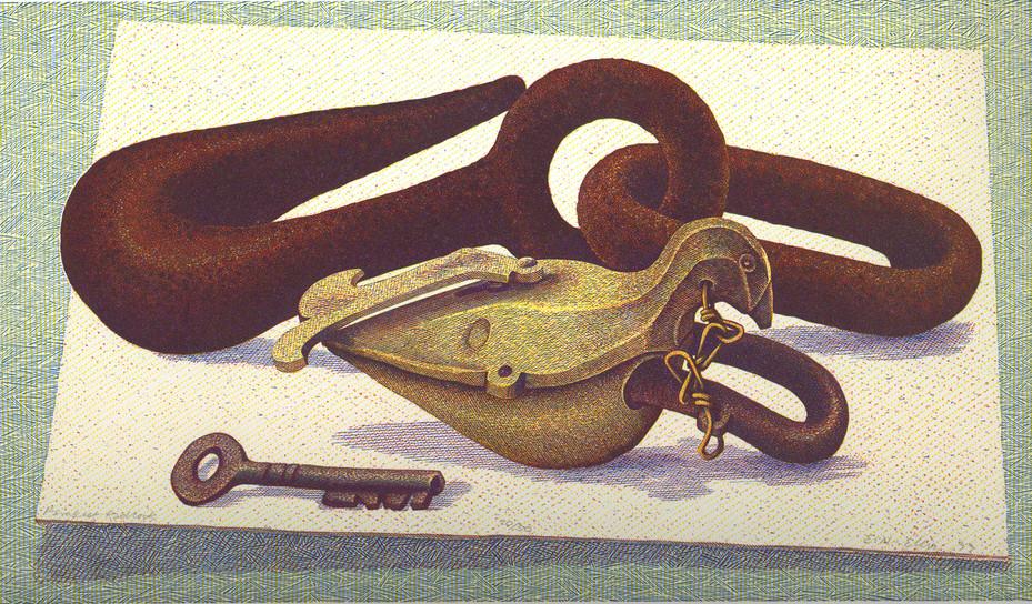Parakeet Padlock  鹦鹉挂锁  140 x 240mm   £400 Edition size: 50  Padlock from Calcutta, lading hook from Cochin, India  挂锁来自加尔各答,货钩来自印度科钦