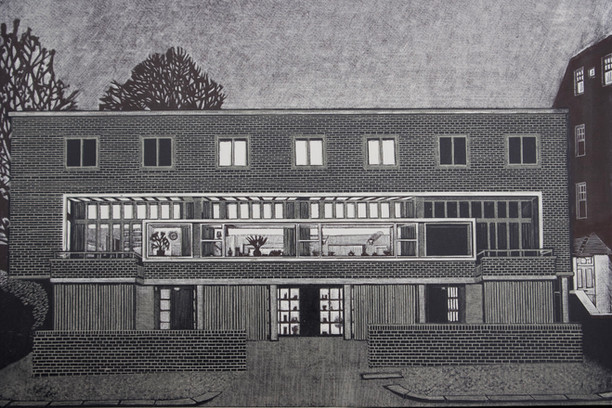 Willow Road, Evening  柳树道,夜晚  280 x 410mm  £250 Edition size: 30     The London home of architect Erno Goldfinger  建筑师埃尔诺·高芬格的伦敦故居