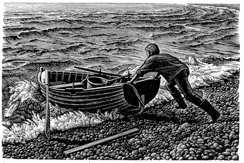 Chesil Boatman  切瑟尔的船夫  100 x 150 mm   £225 Edition size: 150  Fisherman launching his boat into the surf on Chesil Beach  渔夫在切瑟尔海滩将船顺着海浪推下水