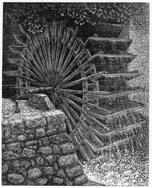 Water Wheel  水轮  130 x 105mm   £80 Edition size:   A mill wheel in south west France  法国西南部的水车