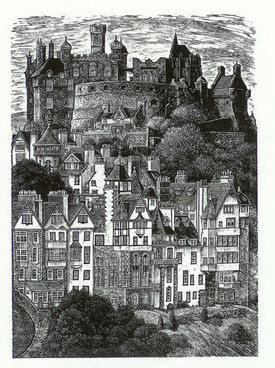 Edinburgh Castle  爱丁堡城堡  175x125mm   £80 Edition size: 250  Based on a view from a neighbouring hill in the city of Edinburgh, Scotland.  从附近的山顶看爱丁堡城市。