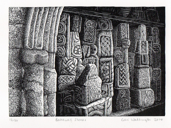 Bakewell Stones  贝克韦尔石雕  100 x 140mm   £80 Edition size: 50  Fragments of ancient carved crosses in Bakewell parish church in the Peak District  英国峰区贝克韦尔教堂内的古代石雕十字架碎片