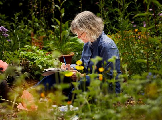 Angie Lewin sketching in garden