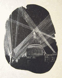 St Paul's: Lights  圣保罗:灯光  225 x 173 mm   £300 Edition size: 30  One of a series of engravings of London's historic St Paul's Cathedral depicting it as it might have looked during World War Two air-raids in 1940–41.   伦敦历史悠久的圣保罗大教堂木口木刻系列作品之一,这幅作品描绘了1940-41年二战期间的空袭情景。