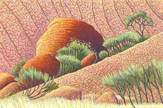 Boulders Later   岩石之后  100 x 150mm   £230 Edition size: 75  Uluru, Central  Australia  乌鲁鲁,又称艾尔斯岩,位于澳大利亚北领地的南部