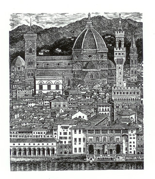 Florence  佛罗伦萨  135x115mm   £75 Edition size: 275  Engraving of towers in the centre of Florence, Italy, an imagined impression as if viewed from the air.  意大利佛罗伦萨市中心的塔楼及附近,想象中的从空中俯瞰的效果。