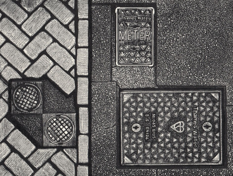 Grounded  地面  160 x 210mm  £140 Edition size: 30  A pattern of pavement stones and manhole covers  人行道石和窨井盖的图案