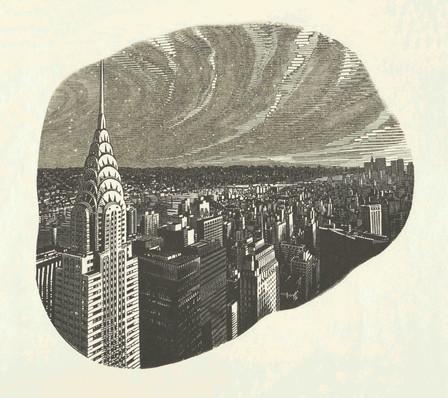 Manhattan: Sky  曼哈顿:天空  190 x 203 mm   £395 Edition size: 20  One of a series of engravings of the Chrysler Building and Manhattan skyline, New York, USA, in different light and weather conditions.  美国纽约克莱斯勒大厦和曼哈顿天际线的木口木刻系列作品之一,在不同的光线和天气条件进行创作。