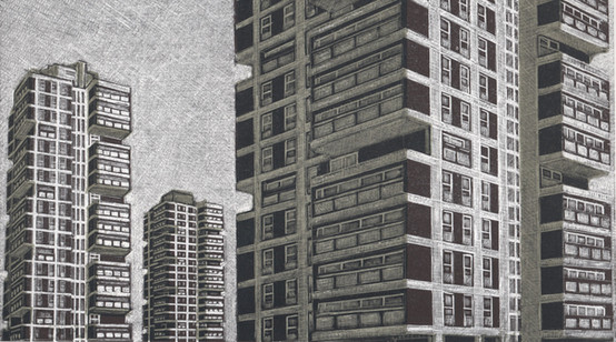 On Sultan Street  在苏丹街上  153 x 270mm  £140 Edition size: 30    Social housing on the Brandon Estate  伦敦布兰登住宅区的社会保障住房
