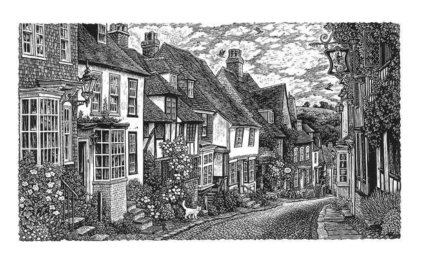 Mermaid Street, Rye  莱伊古城的美人鱼街  100 x 175mm   £60 Edition size: 375  View of a cobbled street in the ancient town of Rye, Sussex. The sign belongs to the fifteenth century Mermaid Inn, a historic haunt of smugglers.  苏塞克斯郡莱伊古城的一条鹅卵石街道。右上角的标志属于15世纪的美人鱼旅馆,这是一个历史上走私者出没的地方。
