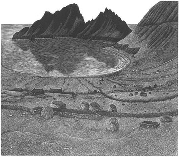 Hirta, St.Kilda 赫塔岛,圣基尔达岛  220 x 230mm   £140 Edition size: 50  The remains of the deserted village in the Outer Hebrides  苏格兰外赫布里底群岛一座废弃村庄的遗迹