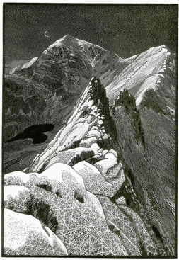 Nightsnow Snowdon  斯诺登山的夜雪  305 x 205mm   £425 Edition size: 100