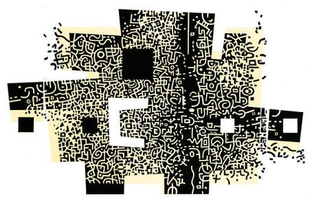 Dark Matter  暗物质  250 x 400mm   £325 Edition size: 35  A two-colour, reduction print  双色绝版木口木刻