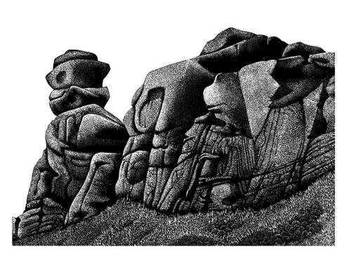 Ramshaw Rocks  拉姆肖岩石  140 x 200mm   £80 Edition size: 50  Strange rock formations in Derbyshire Peak District  英国德比郡峰区奇特的岩层