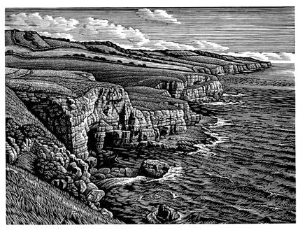 Dorset Coast, Seacombe  多塞特沿海的西康姆  115 x 150 mm   £245 Edition size: 150  Cliffs on the Dorset coast, Southern England  英格兰南部多塞特海岸的悬崖峭壁
