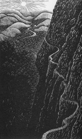 The Precipice  悬崖绝壁  170 x 100mm   £100 Edition size: 100  The edge of disaster or a precarious route to the land beyond  灾难之边缘或通往远方的危险之路