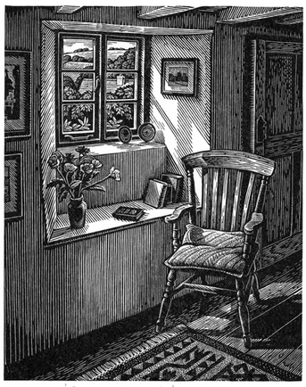 Sunlit Interior  阳光下的室内  130 x 110mm   £195 Edition size: 150  A cottage interior in Cornwall, England  英格兰康沃尔郡的居所