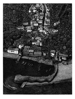 Clovelly  克洛韦利村  320 x 240mm   £120 Edition size: 200  An ancient village without cars near my home in Devon  我在德文郡的家附近有一个没有汽车的古老村庄