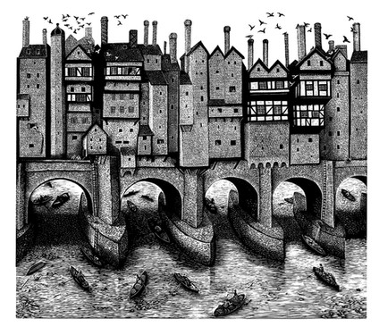 Old London Bridge  古老的伦敦桥  266 x 306   £150 Edition size: 200  Imagined from old drawings and models  灵感来源于旧图纸和模型